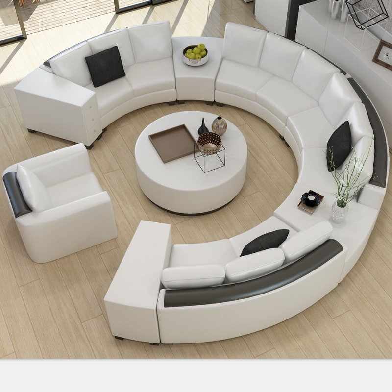 round design modern curved leather sofa A017