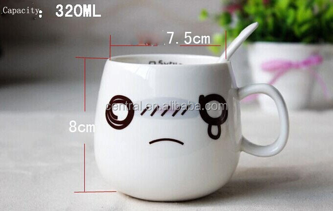 Creative Cute Face Ceramic Cup Couples Coffee Multi-color Optional ...