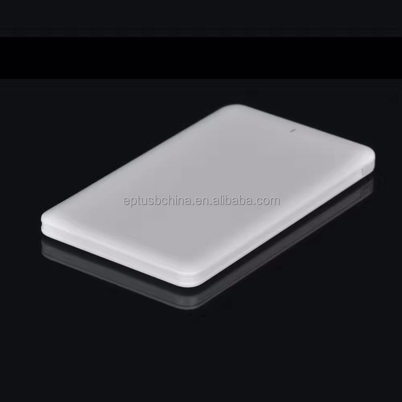 Credit card size power bank, Unique and simple design built-in cable mobile phone power bank, super slim power