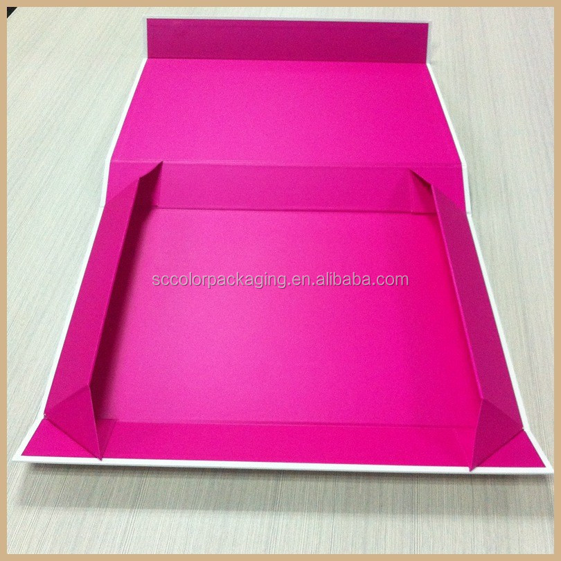 shiny pink color cardboard magnetic key box EVA insert book shape box flower gift box