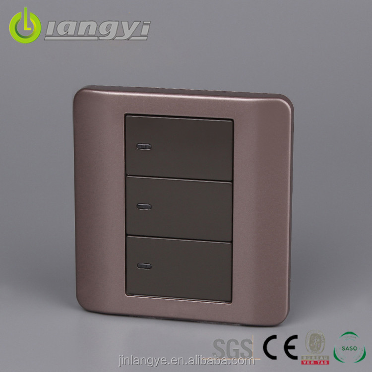 Fashion Eco-Friendly Save Power 3-Gang Electrical Switches With Led Indicator Light