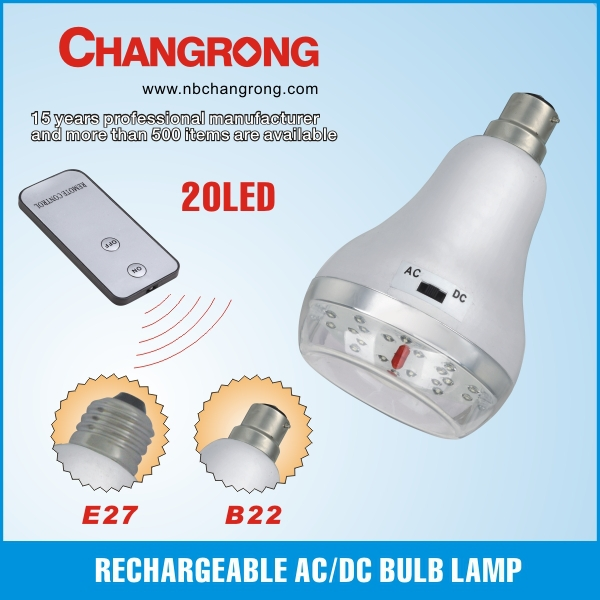 plastic emergency rechargeable AC/DC lamp bulb