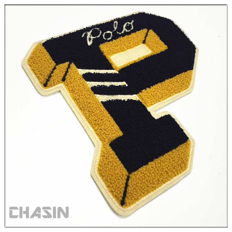 wholesale custom chenille sew on patches letter no minimum