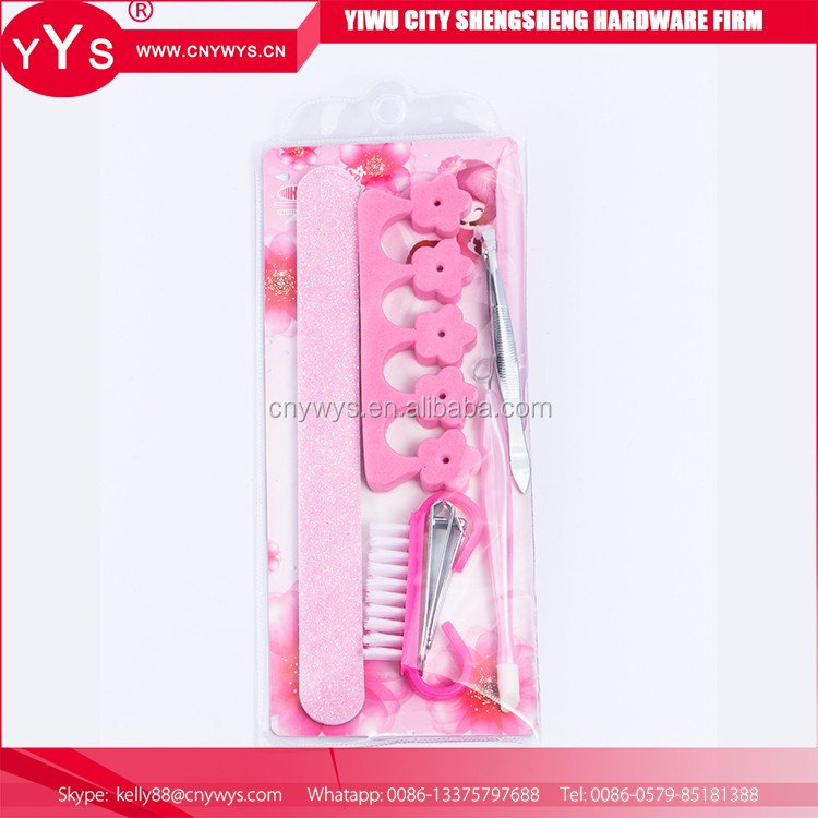 Wholesale products pink manicure set in a purse