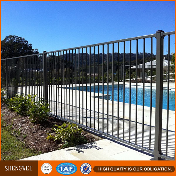 Flat top wrought iron swimming pool fence design