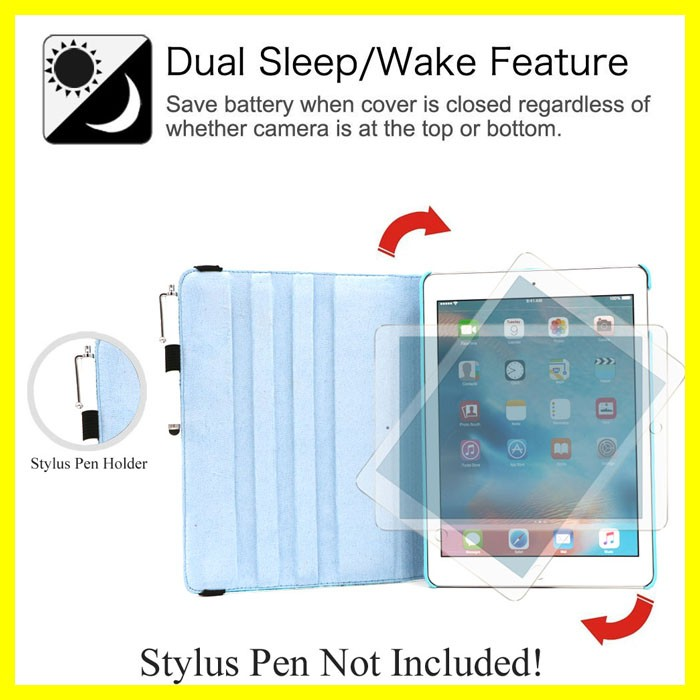 Flower Rotating Case with Auto Sleep for iPad Pro 9.7 Smart Cover Cases for Apple iPad Tablets