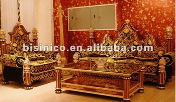 European luxury style gold plated living room sofa set,hand carved,24K gold plated,made of copper&wood,MOQ:1SET(B6009)