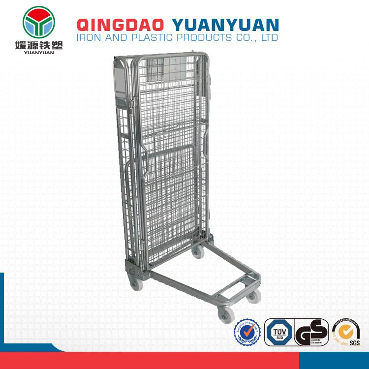 Warehouse 4 sided logistics roll container cage pallet folding rolling trolley warehouse flower carts for sale