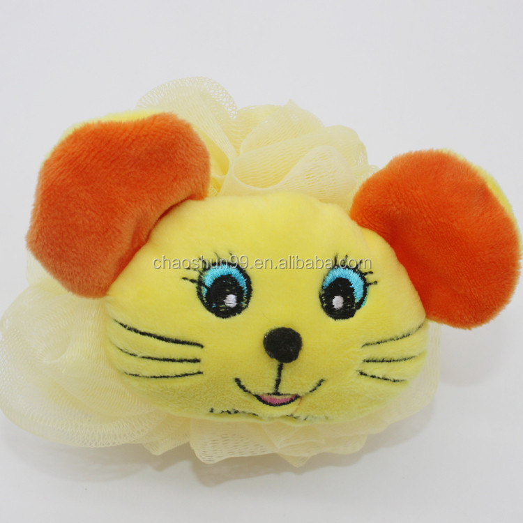 Promotional lovely compressed bath sponge material bath puff ball for babies