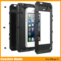 Metal Aluminum Shockproof tempered Glass Waterproof Case for IPhone 5S