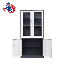 Factory direct sale 2 tier 4 door used steel office cupboard cabinet