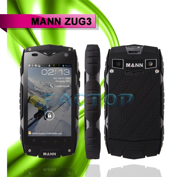 mobile phone Android 4.3 gsm wcdma MANN ZUG 3 2 sim card 4.0inch waterproof cell phone