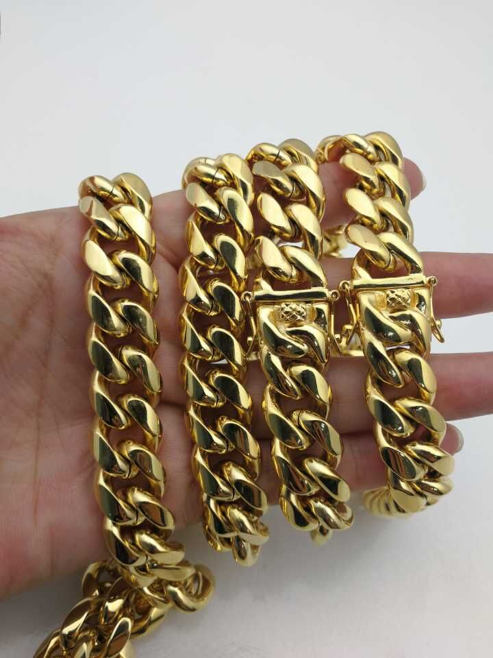 Mens 14k Gold Plated Cuban Link Chain Miami Hip Pop Heavy Necklace Cuban Chain Stainless Steel Safe Clasp Long Chain