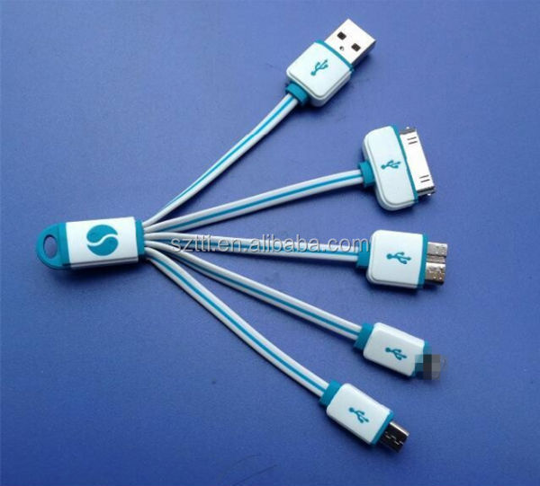 2014 creative portable flat 4 in 1 micro 2.0 usb cable