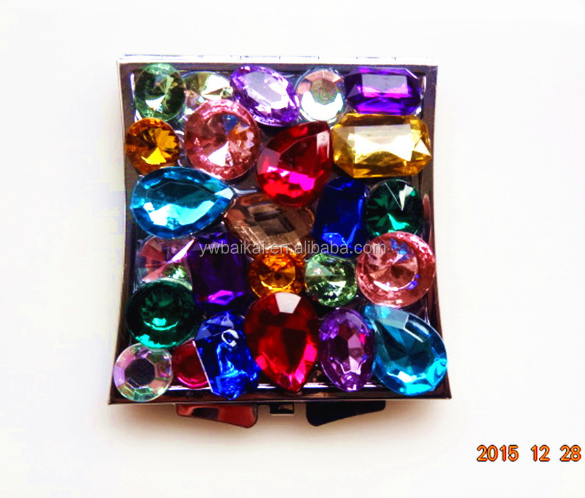 colour crystal mirror Rhinestone cosmetic mirror colorful