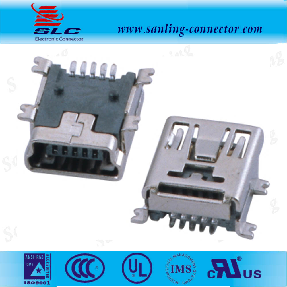 5pin SMT type mini USB connector