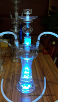 wholesale hookah types glass smoking water pipe with led
