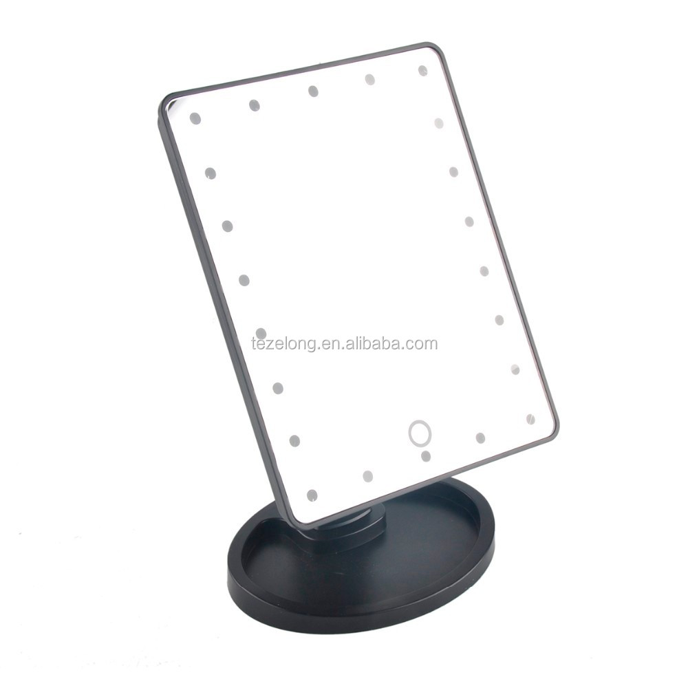 360 degree rotation touch screen makeup led mirror cosmetic folding portable with 21 led lights makeup mirror