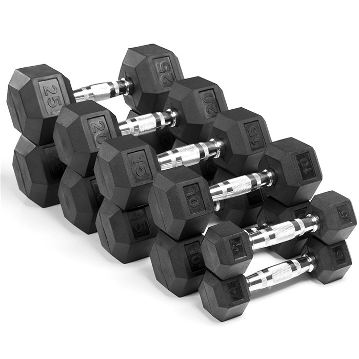 GymSet of 2 Hex Rubber Dumbbell with Metal Handles Heavy Dumbbell Choose Weight