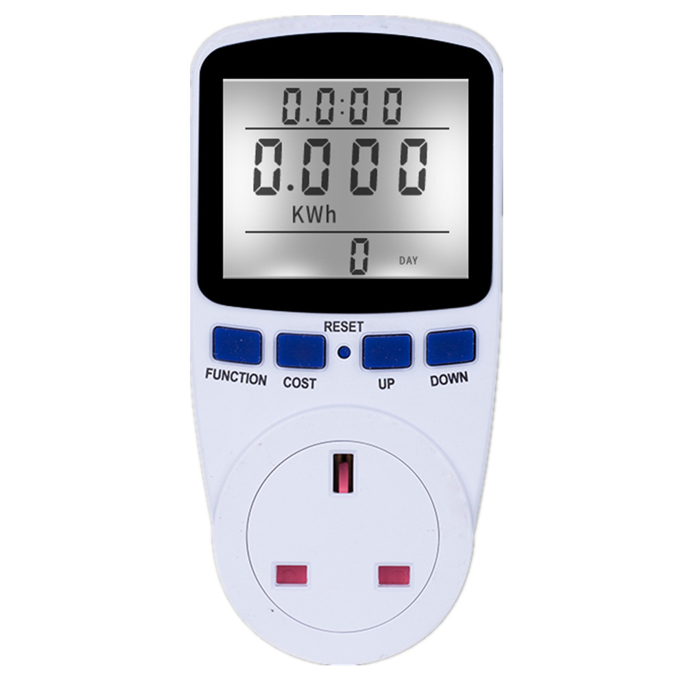 <strong>Electricity</strong> Usage Monitor Power Meter Plug Home Energy Consumption Analyzer with Digital LCD Display Overload Protection UK