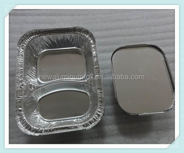 Customized size Silver aluminum foil rectangle container with lid