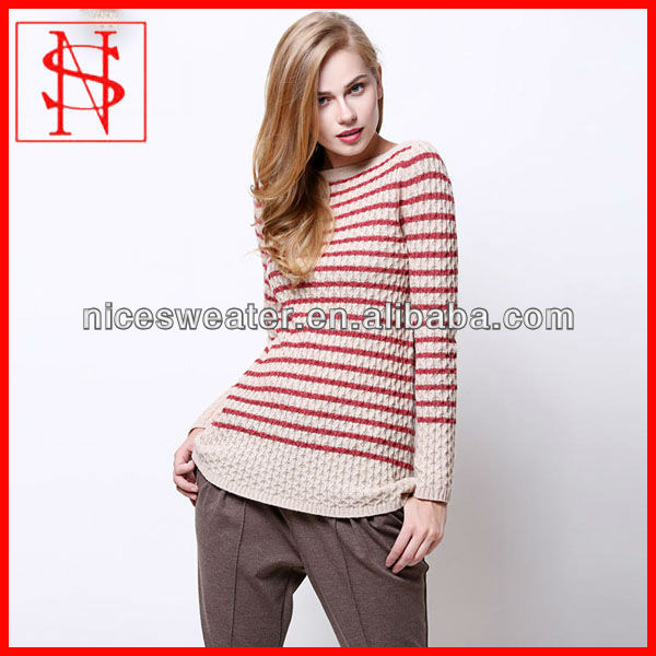 2014 fashion boat neck pullover ladies cable sweater knitting patterns