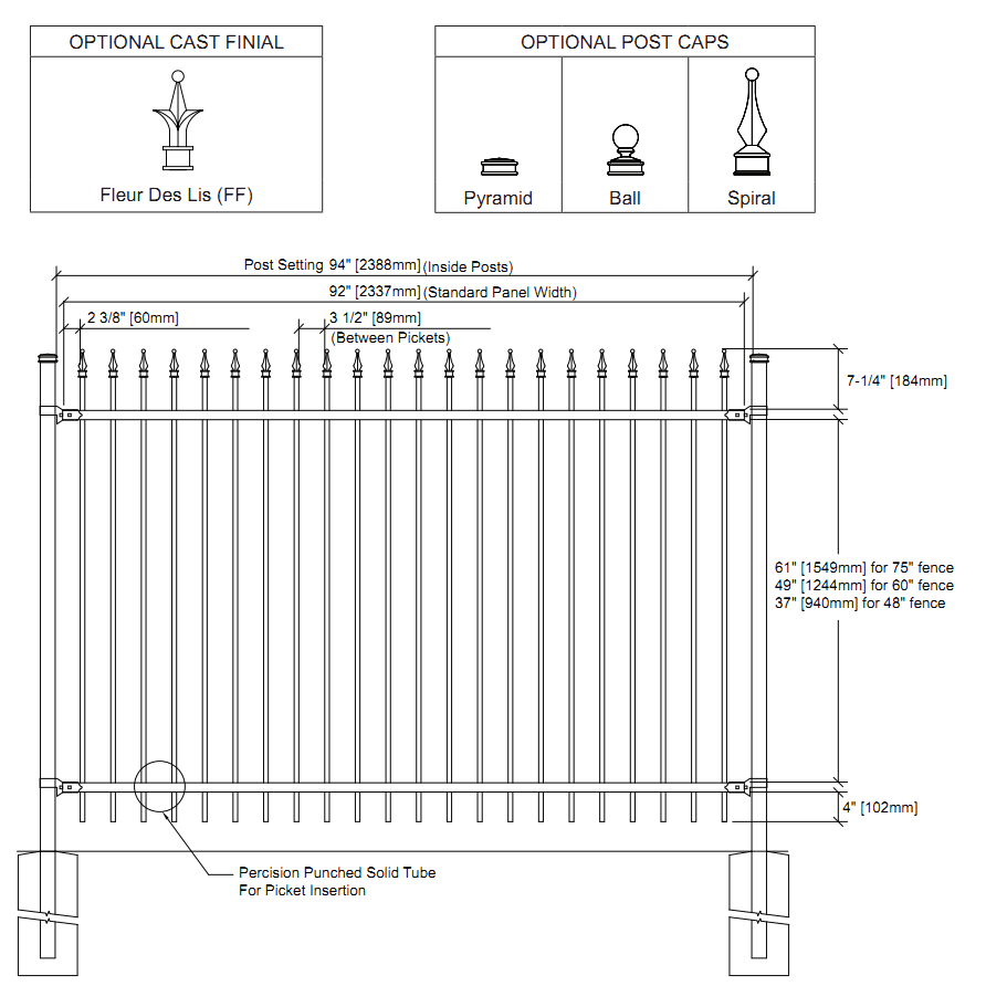 Ornamental Iron Fencing standard styles HDG steel fence for residential project