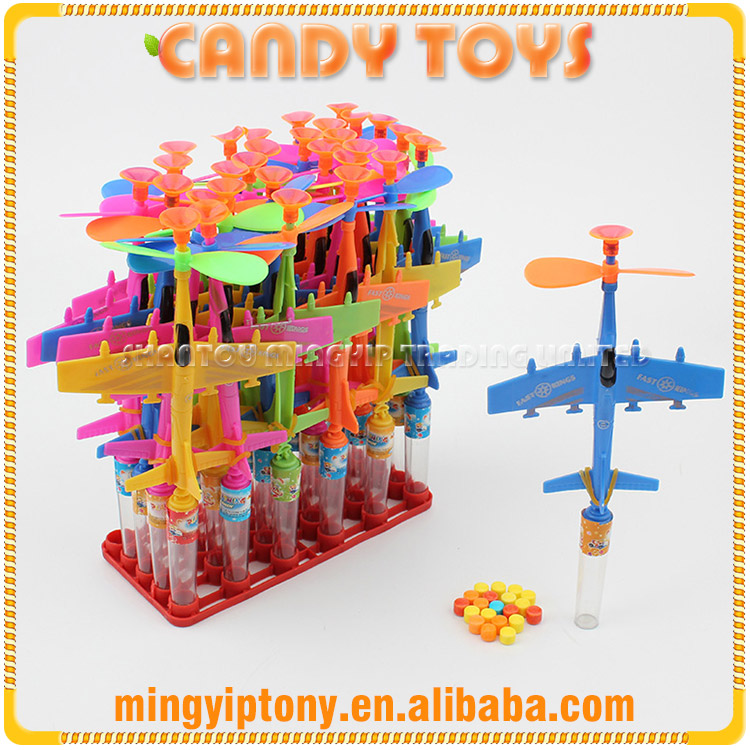Children favorite funny candy toys plastic bomber plane toy candy
