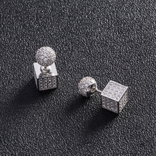 New pattern Odd stereoscopic rhodium plated Cube Earrings
