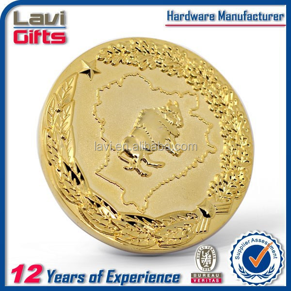 2015 newest wholesale gold plated coin with soft enamel