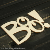 DIY art crafts Wood Laser Cut letter Boo Cutout for wall