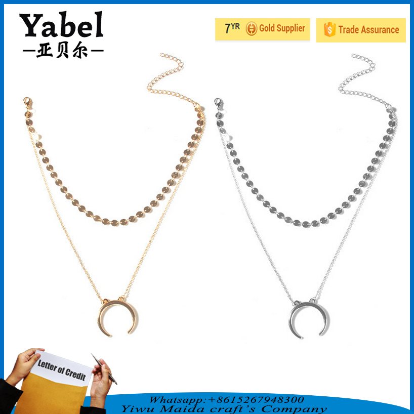 2017 best selling girls fashion design simple gold chain necklace for women