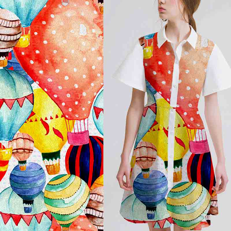 Excellent technology balloons digital printing polyester dress fabric price