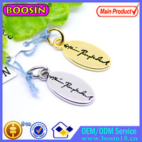 Circle/ Oval Shape Engraved Metal Logo Tag Charm Custom Jewelry Tag #19539
