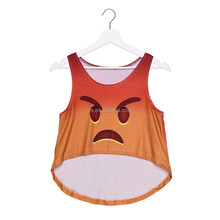 Emoji Printed Sport Vest Wholesale Bulk Crop Tops For Girls