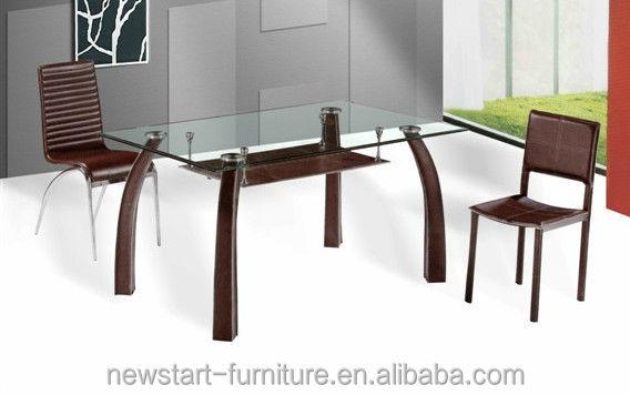 base de metal blanco de vidrio templado mesa de comedor