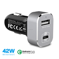 USB-C PD Car Charger with 30W Power Delivery & 12W USB Dual Port 42W Output for New Macbook iPhone X/8/7 iPad Pro Air Mini