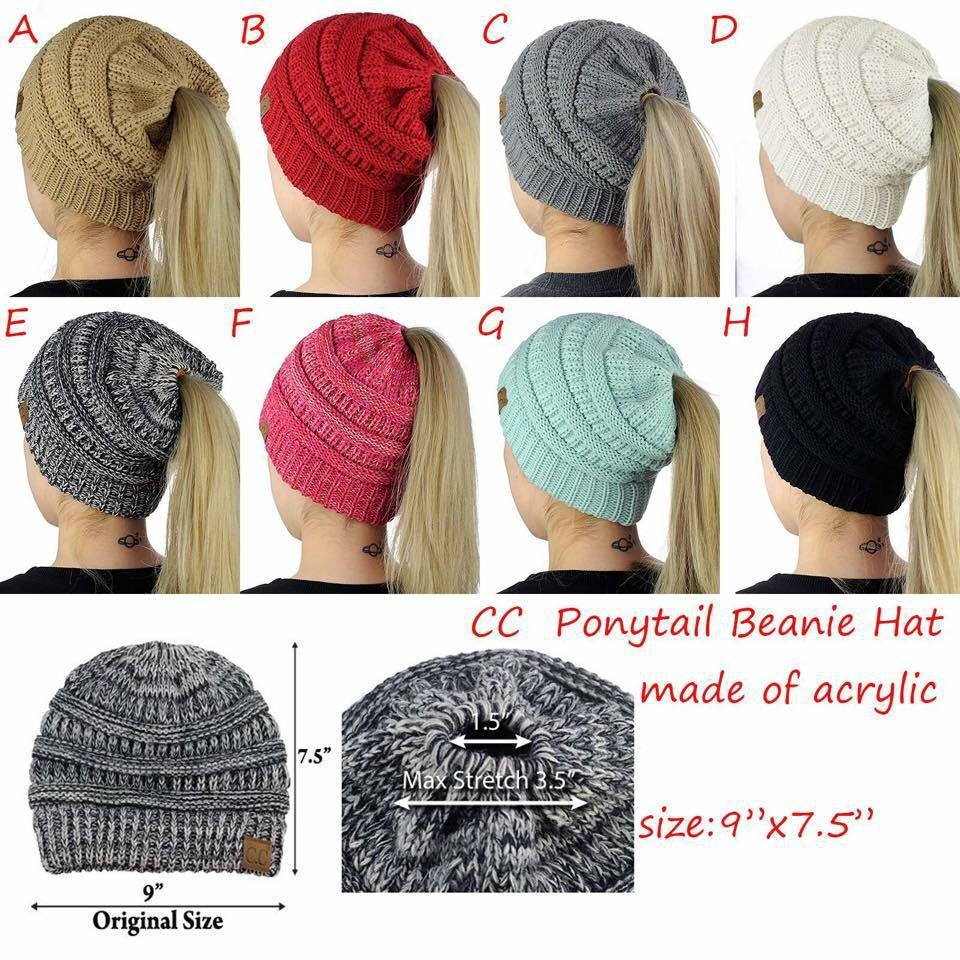 CC Labeled Ponytail Beanie Hat Women Ponytail Cap