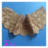 garment decoration white & gold color embroidery cotton DIY craft lace trimming