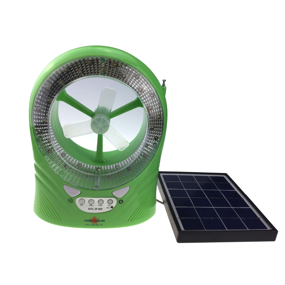 Solar Power Mini Fan Cooling fan with LED light and Radio function