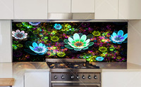 High definition Toughened digitally Printed onglass wall kitchen for splashbacks heat resistant
