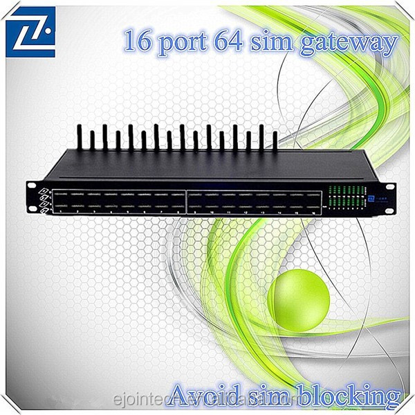 Ejointech 16 ports cross-network 3g voip sip adapter gateway with sim card with human behavior