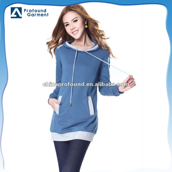 Womens casual fashion long sleeve plain longline wholesale blank pullover hoodies