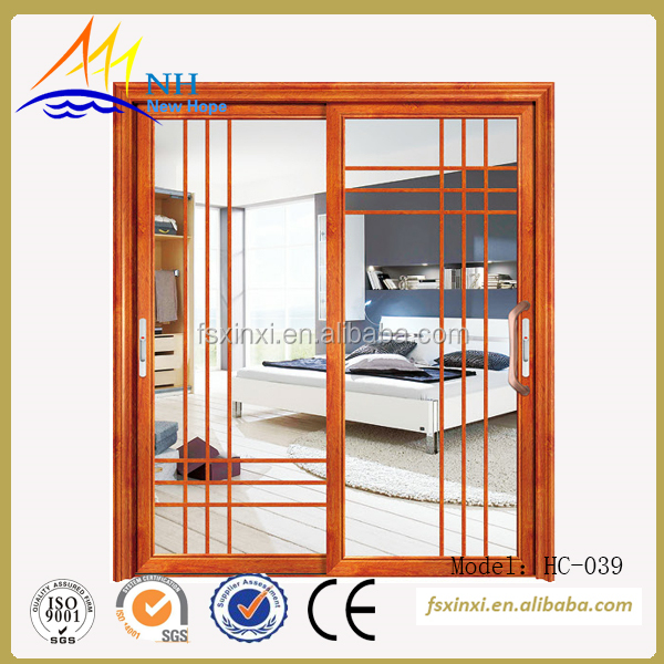 Double glass aluminum sliding glass door hanging, colour Golden oak grain