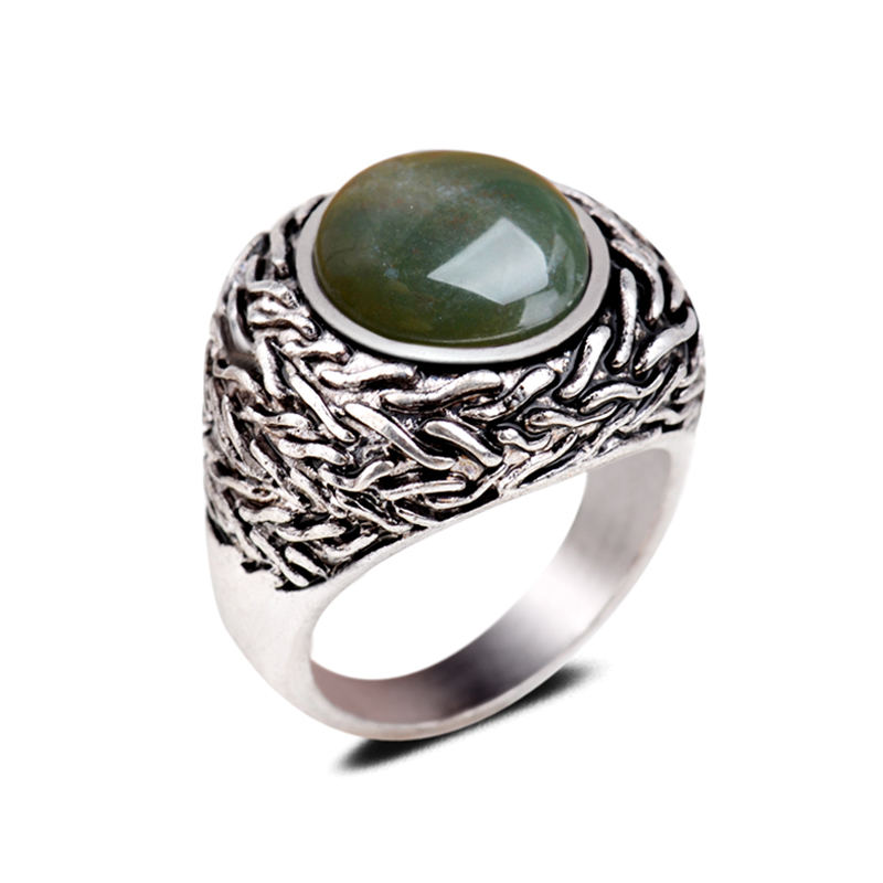 Genuine Natural India Smokey Agate Gemstone Rings Dark Green Precious Round Stone Finger Cameo Ring For Men