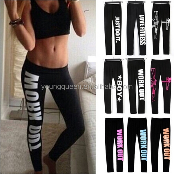 RM007 Sexy Sportswear Fitness Printed Cotton Leggings work out leggings
