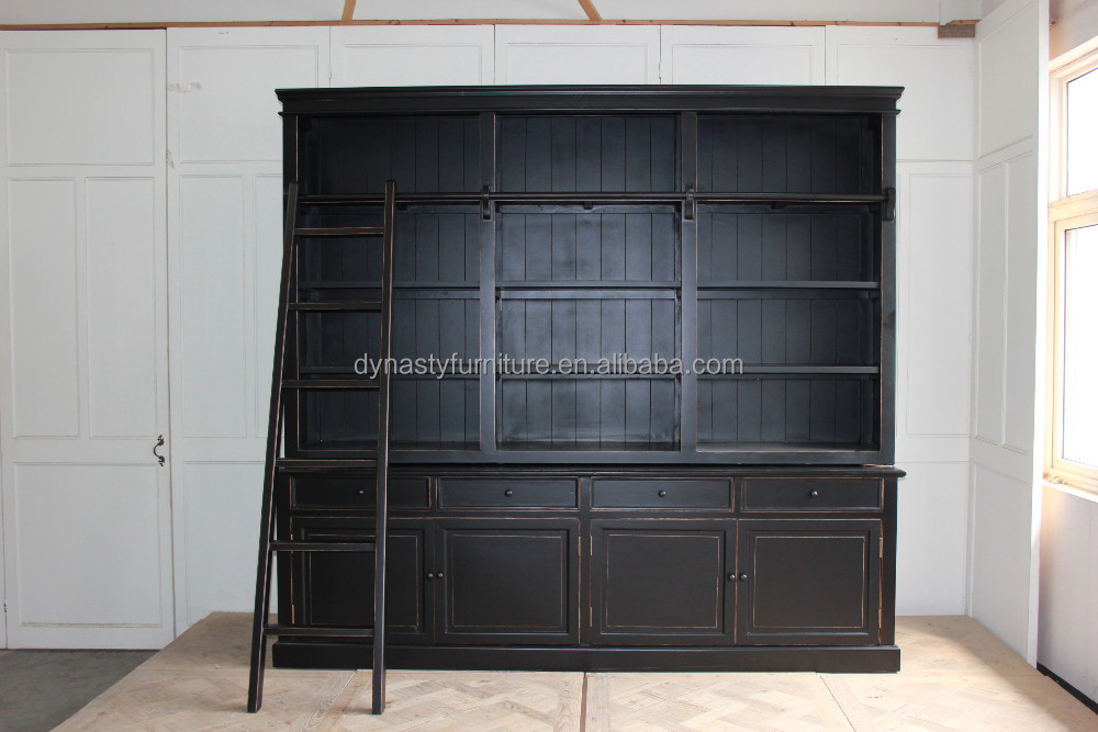new design livingroom furniture black wooden bookcase with ladder