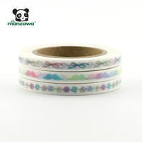 Colorful Custom Printed Washi Tape Decorative Masking Tapes with bowknot flower Moustache assorted pattern