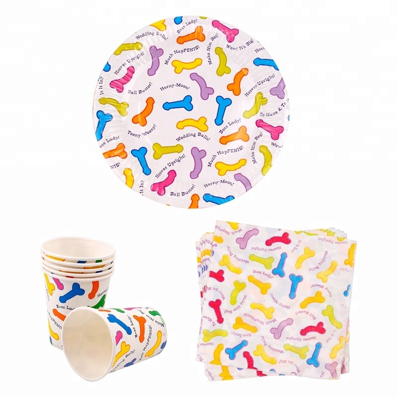 Little Penis Pattern Disposable Party Tableware Set Bachelorette Party Decoration Hen Bachelorette Party Supplies