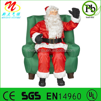 Inflatable Animated Santa Claus Sitting On Chair For